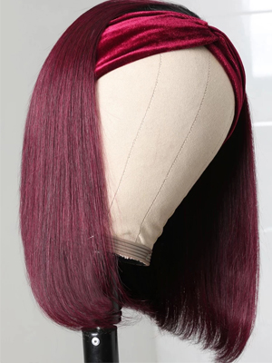 ombre headband bob wig burgundy for black women