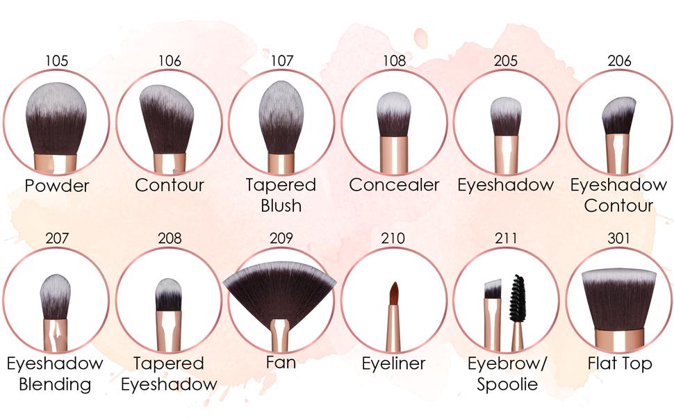 Powder brush contour concealer eyeshadow fan blending spoolie eyebrow kabuki tapered blush eyeliner