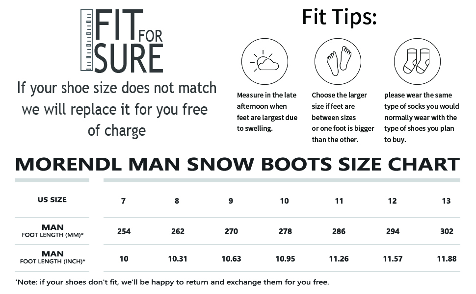 snow boots size chart