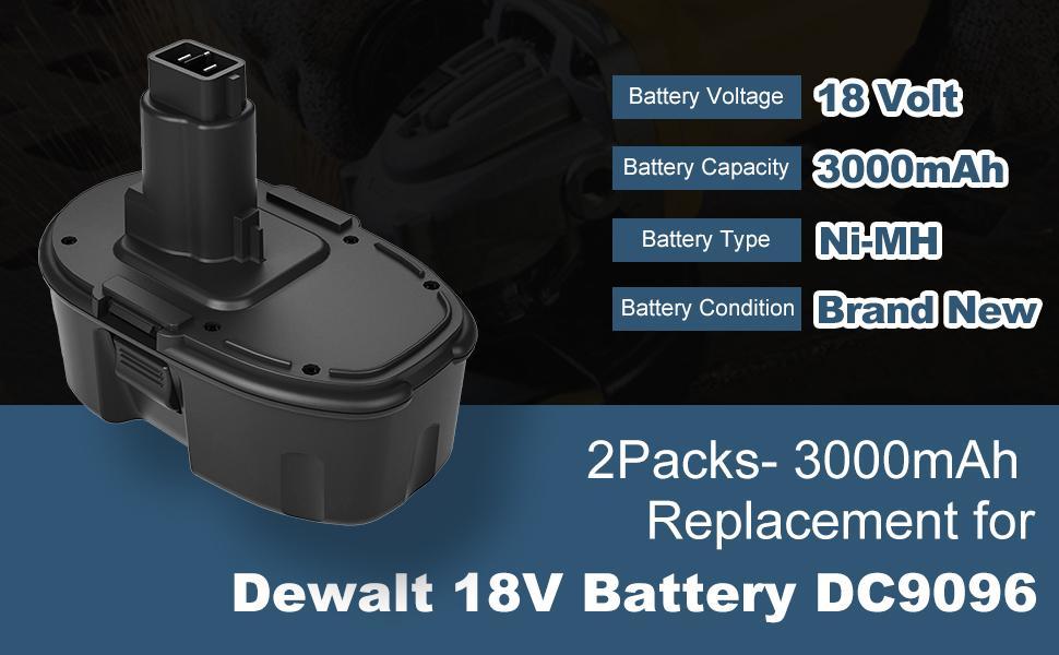 3.0 Ah DC9096 DC9099 DC90098 Replacement for Dewalt 18V Battery - 2Packs