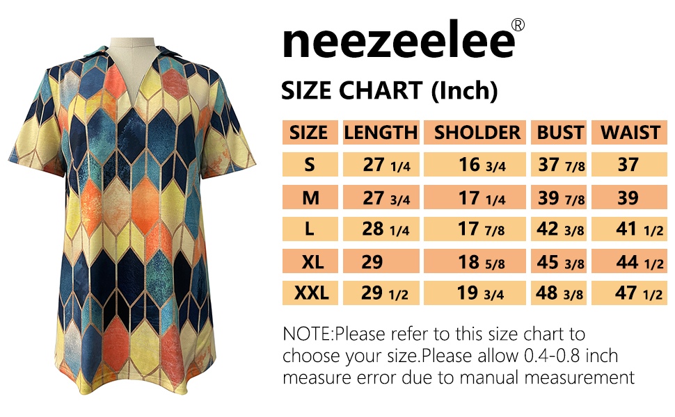 neezeelee womens casual short sleeves Tshirts size chart