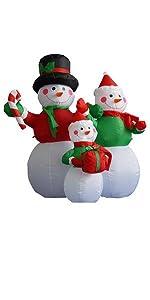 4 Foot Tall Christmas Inflatable Snowman Snowmen Family LED Lights