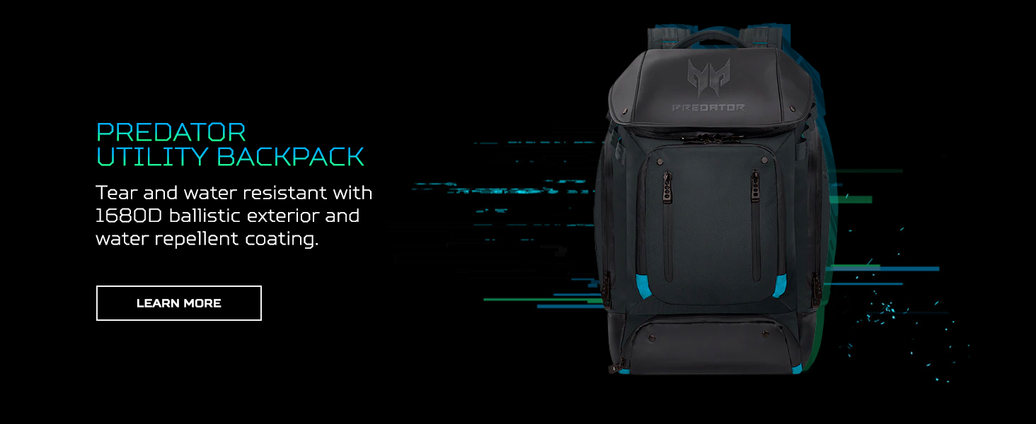 predator utility gaming backpack ballistic polyester strong exterior material water repellent