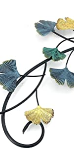 Bellaa Metal Wall Art Flower Ginkgo Leaf Abstract Blue Scroll Hanging Japanes Style