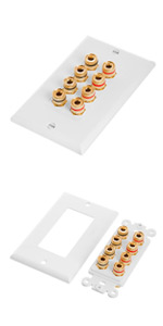 Speaker Wall Plate With Banana Binding Posts - Four Speakers