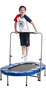 Oval Foldable Double Trampoline with Handrail