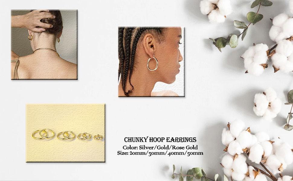 chunky gold hoop earrings silver hoop earrings for women