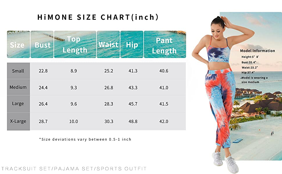 HiMONE Tie Dye Two Piece Tracksuit Size Chart