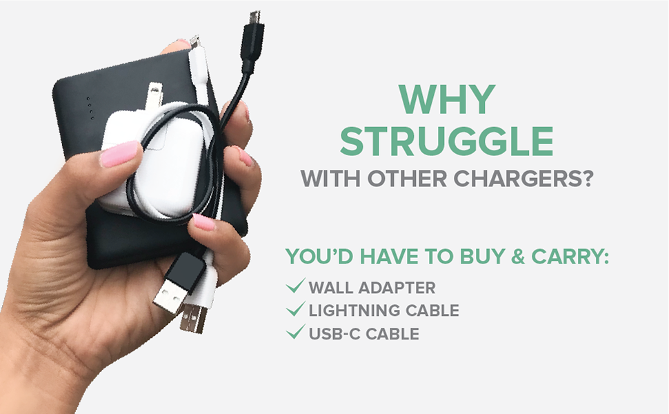 myCharge Portable Charger Hub Universal Built In Lightning Cable iPhone Charger USB C Cable