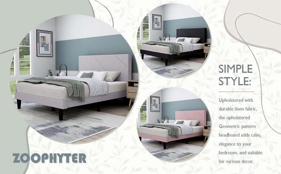 upholstered platform bed frame