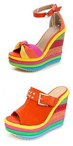 wedge sandals for women high heel platform sandals rainbow sandals