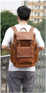 Brown Leather Backpack for Men fits 15.6 Inch Laptop
