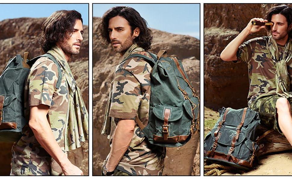 "Zaino da uomo in tela cerata casual Bookbag per laptop da 15,6"""