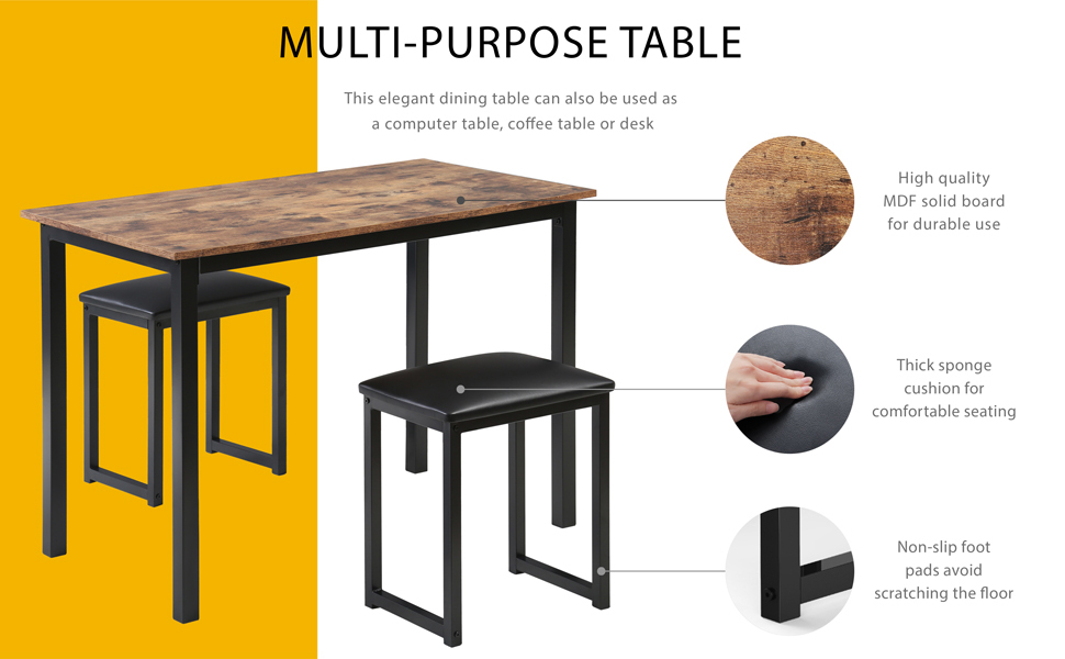 HOMOOI Dining table set with 2 paded stools
