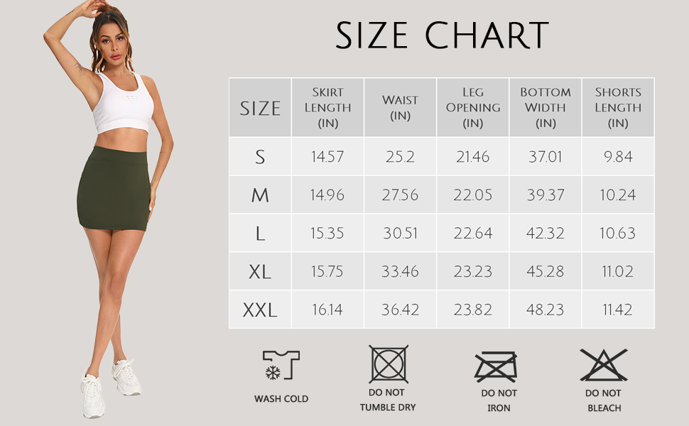 tennis skort for women size chart