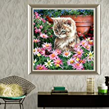 Diamond Painting Kits for Adults,Cat in the Flowers