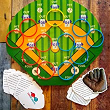 Hook-A-Hit Ring Toss Game with Rings and Instructions for game play hanging on a wooden board