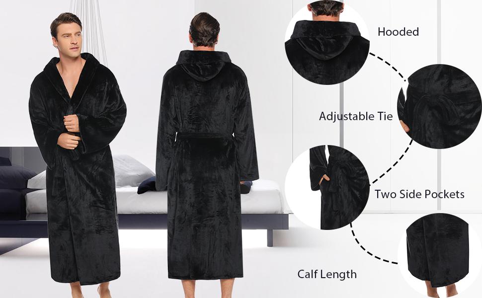 long bathrobe men,male robe winter,mens long fleece dressing gowns,men's robes long