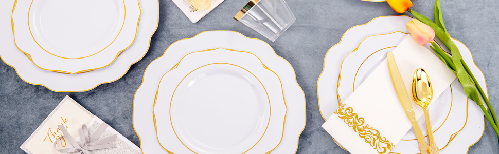 gold plastic plates with silverware