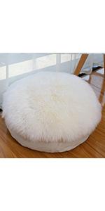 round sheepskin floor pillow