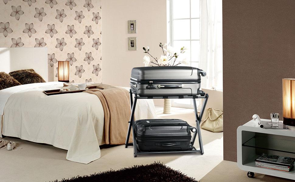 foldable luggage rack with shelf metal