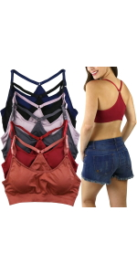 womenamp;#39;s pack of six racerback sports bras
