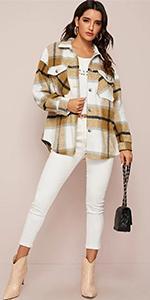 Womens Casual Wool Blend Jackets Outerwear