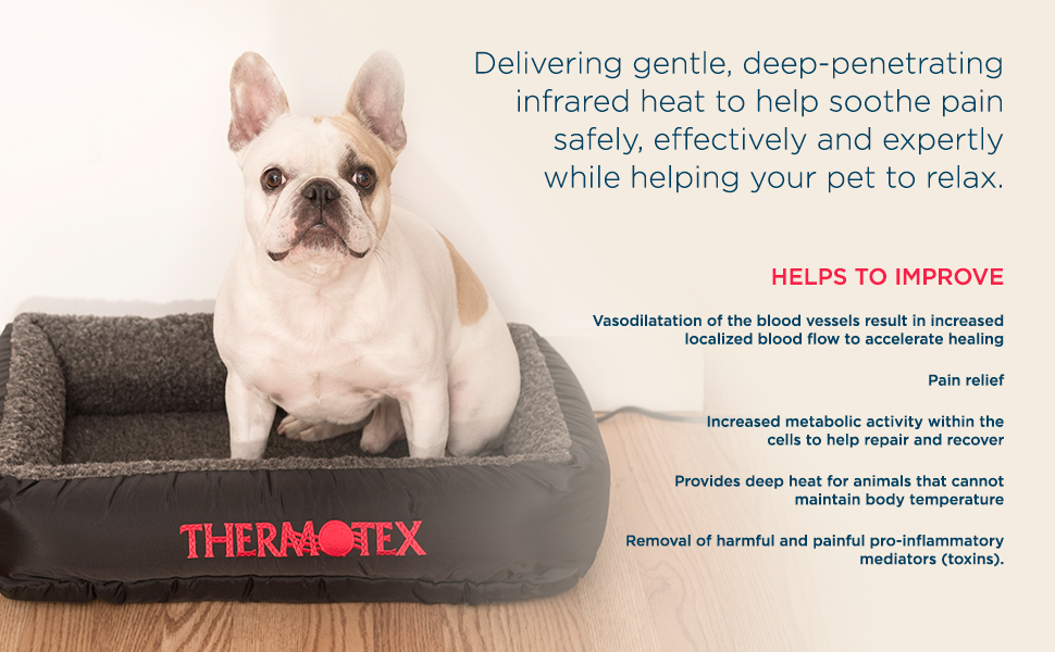 thermotex, pet, bed, cat, dog, large, small, heating pad, therapy, treatment, far infrared