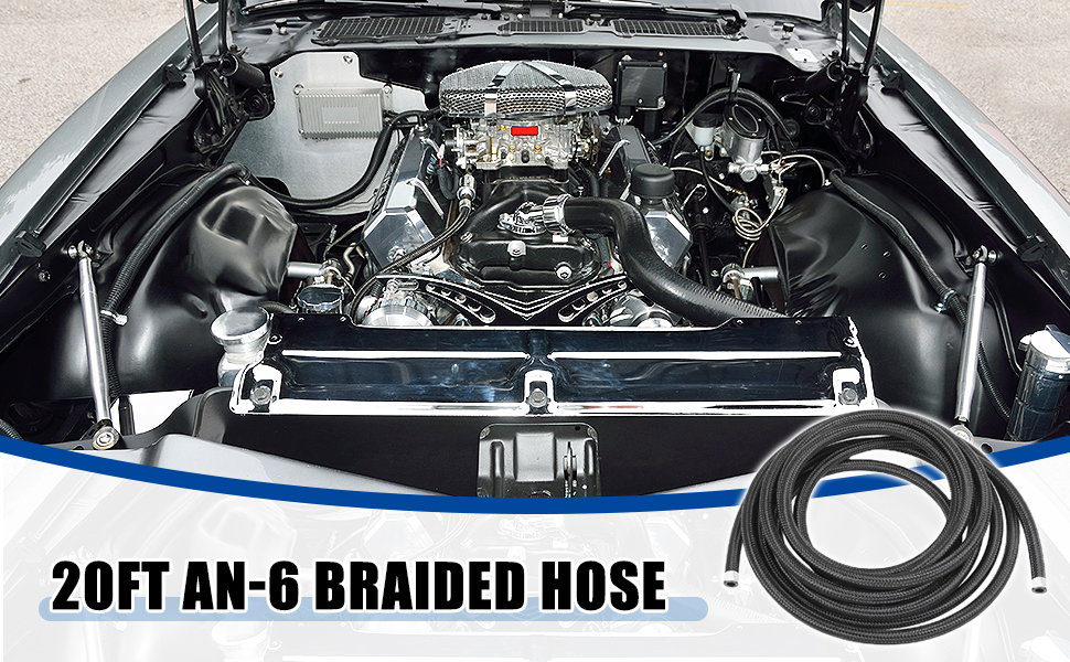 """20Ft 6AN 3/8"""" Stainless Steel Braided Fuel Hose CPE Oil Gas Fuel Line"""