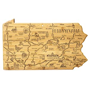 Totally Bamboo Destination Pennsylvania State Shaped Serving and Cutting Board