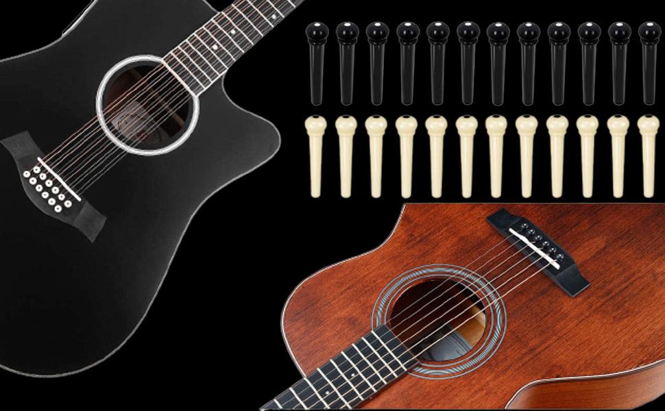 12pcs black guitar pins + 12pcs ivory guitar pins