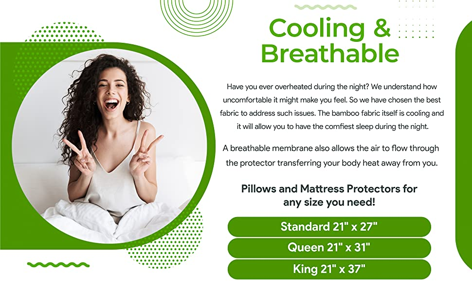 Bamboo Waterproof Pillow protecors Standard Queen King Cooling Soft Breathable