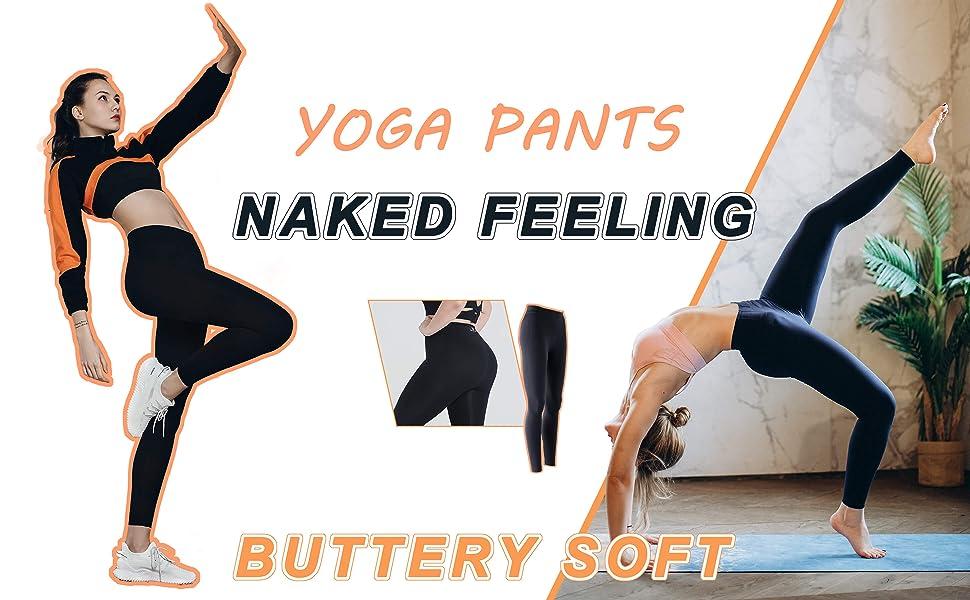 molyvivi Naked Feeling Workout Leggings for Women Running Training Gym Exercise  Yoga Pants