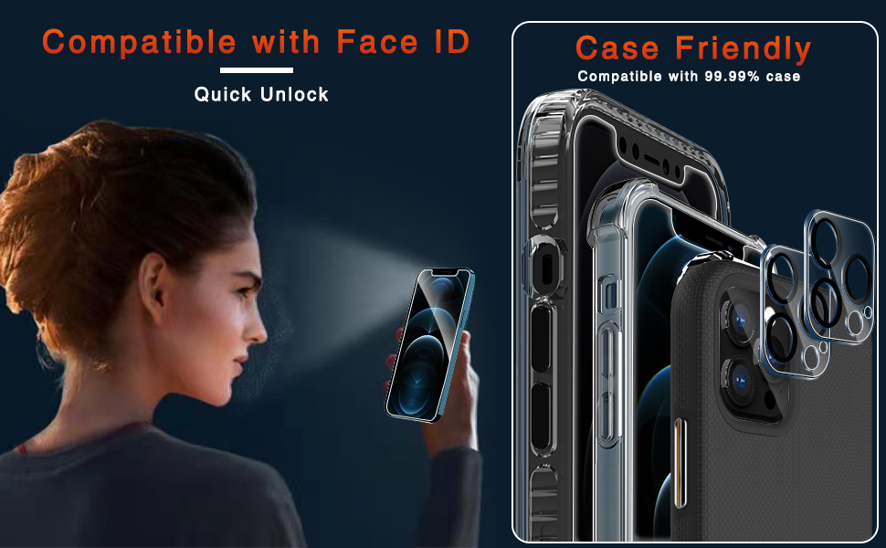 Ferilinso Designed for iPhone 12 Pro Max Screen Protector with Camera Lens Protector