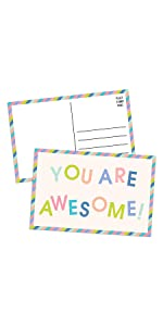 you are awesome bold face colorful pastel with lines and stamp on the back