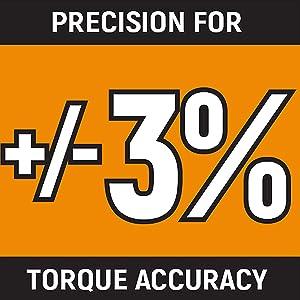 Plus or minus 3% Precision for torque accuracy