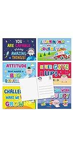 6 design kids motivational postcards with cute brain design for class, kids, teachers and parents