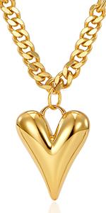 gold heart pendant cuban link chain