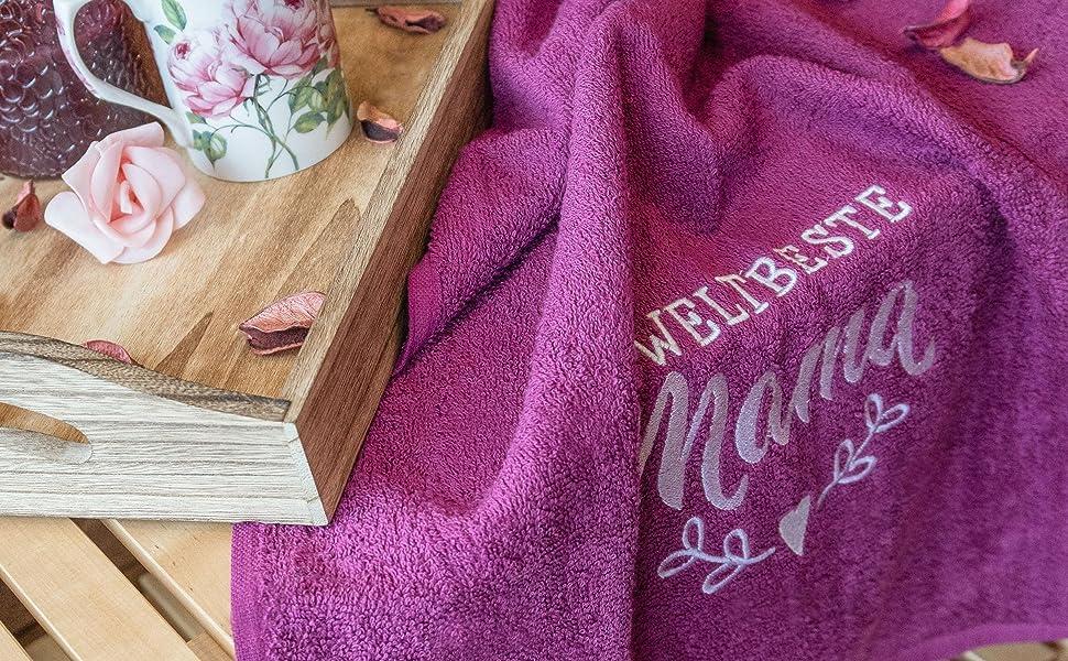 Weltbeste Mama Handtuch 50x100 cm aus 100% Baumwolle