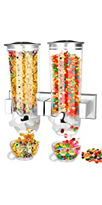 2 Pack Food Dispenser Wall Mount Storage for Coffee Beans, Candy, Cereals