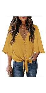 luvamia Women Button Down Blouse V Neck Tie Knot Summer Tops Long Sleeve Shirt