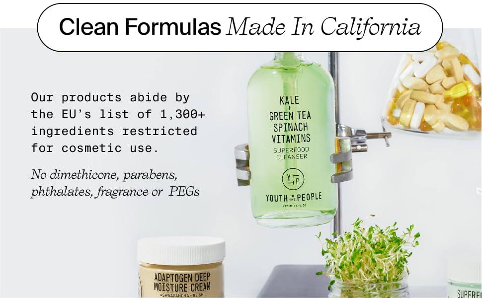 Clean formulas made in California, no parabens or pthalates