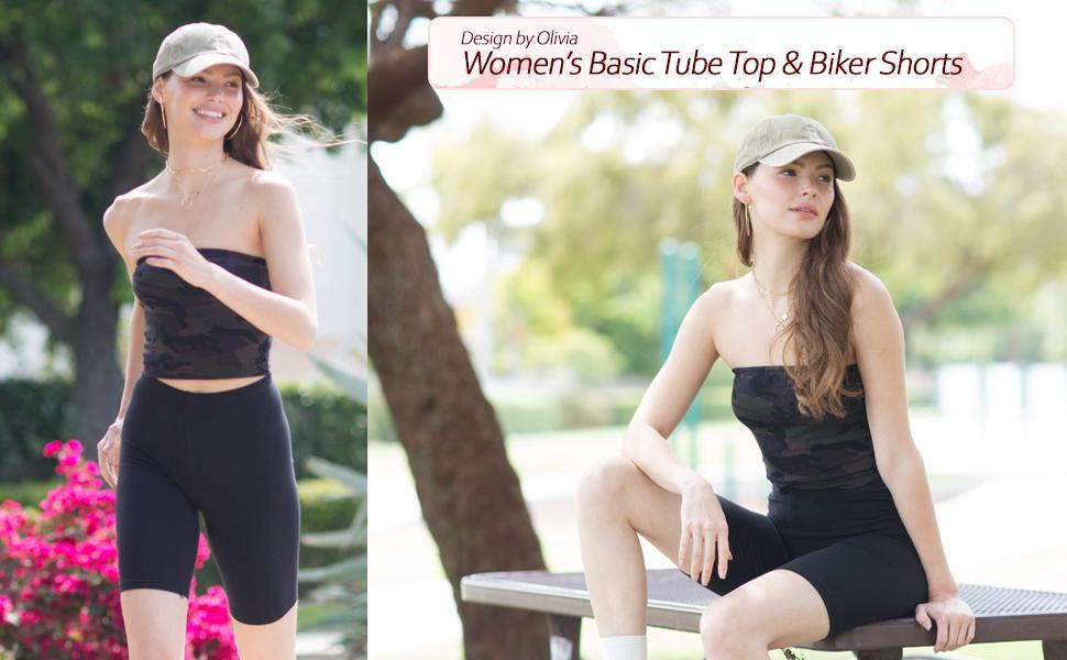 Design by Olivia Women's Basic Tube Top amp; Biker Shorts