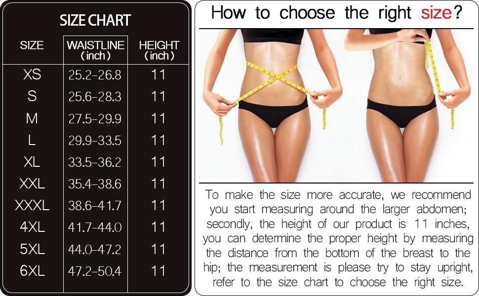 LASETA Waist Trainer for Women Size Chart