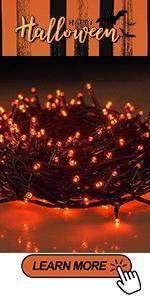 Orange Black Wire String Lights