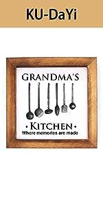 Grandma's Kithen Framed Block Sign Rustic