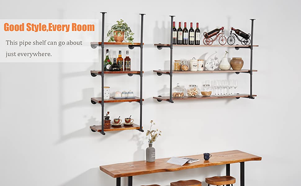 this pipe shelf can go about just everywhere.