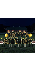 birthday yard signs with string light and stakes