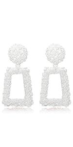 White Rectangle Geometric Dangle Earrings