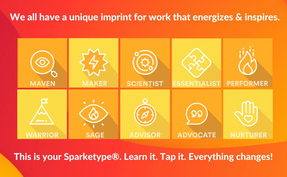 Sparketype, Energy, Imprint, Advocate, Advisor, Nurturer, Performer, Maven